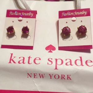2 pairs Kate Spade Fuchsia Pink Gumdrop Earrings